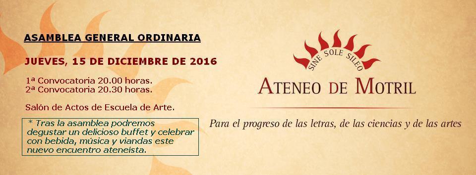 Asamblea General de Socios y Socias del Ateneo de Motril (15-XII-2016)